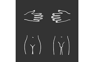 Body parts chalk icons set