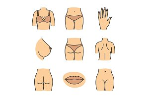 Female body parts color icons set