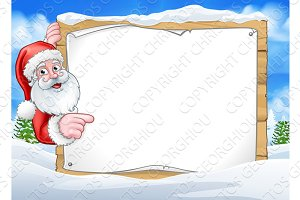 Santa Claus Christmas Scene Sign Background