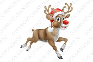 Reindeer Running Christmas Cartoon