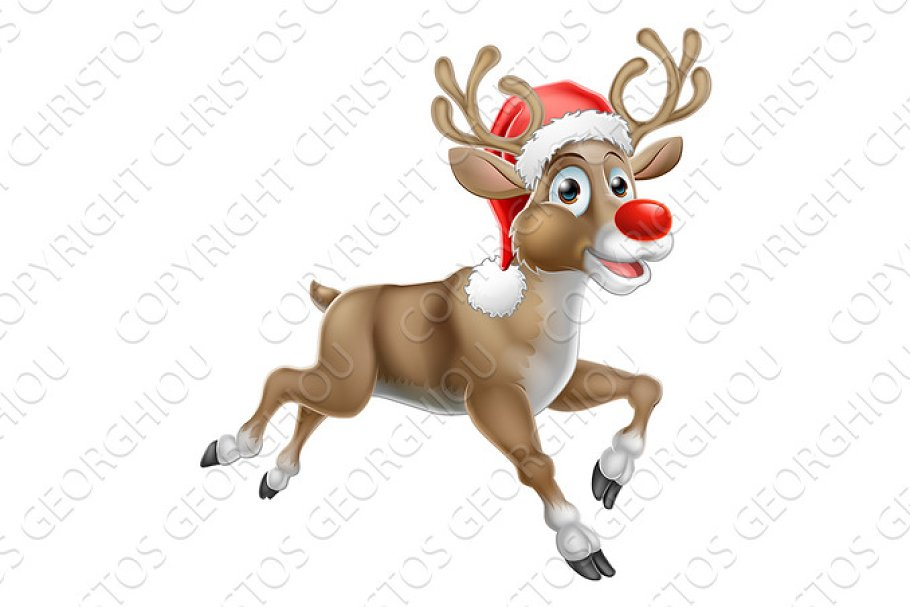 7ba09d215e525 Reindeer Running Christmas Cartoon ~ Illustrations ~ Creative Market