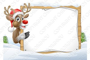 Santa Hat Reindeer Christmas Sign