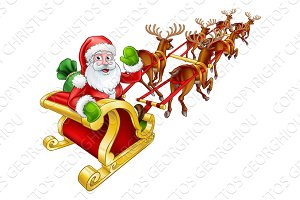 Santa Claus Christmas Reindeer and Sled Sleigh