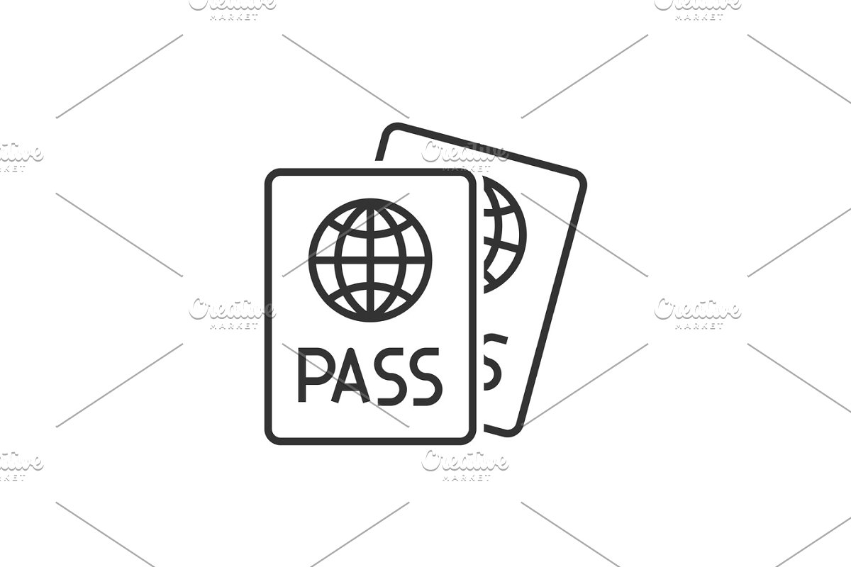 Passport line icon in Graphics - product preview 8