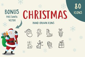 80 Hand-Drawn Christmas Icons