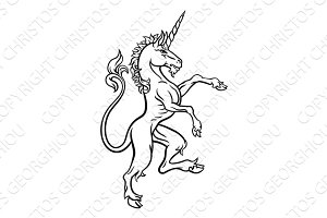 Heraldic Style Unicorn Drawing