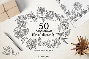 50 hand drawn floral elements