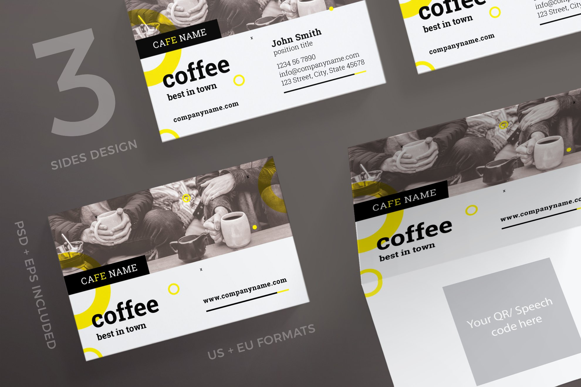 Business cards coffee shop business card templates creative market reheart Choice Image