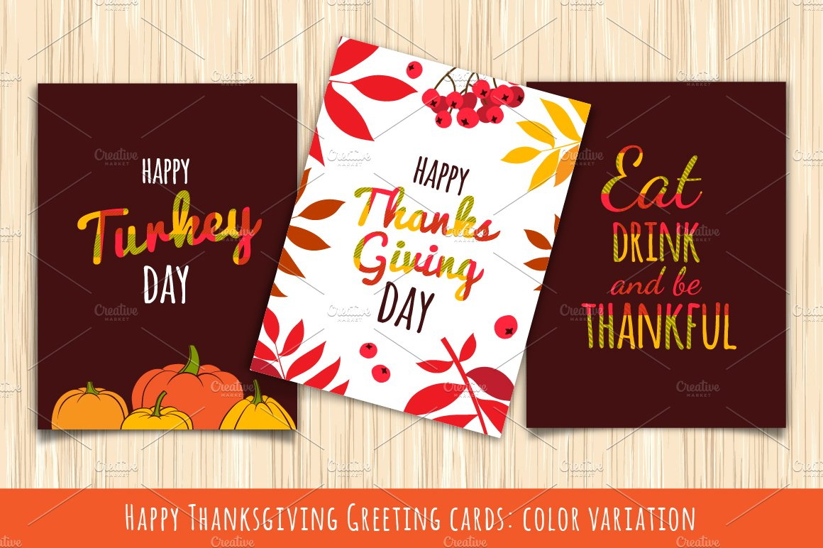 Happy Thanksgiving Greeting Cards Illustrations Creative Market