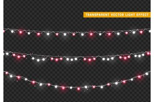 Christmas lights isolated realistic design elements.