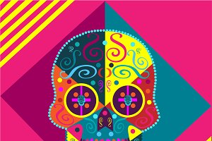 Colorful skull pink