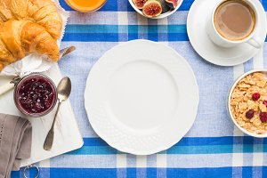Served breakfast frame and white dish