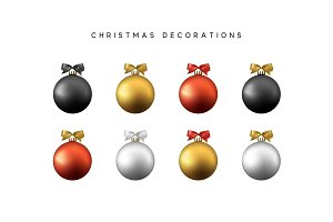 Xmas set balls black gold red and silver color. Christmas bauble decoration elements