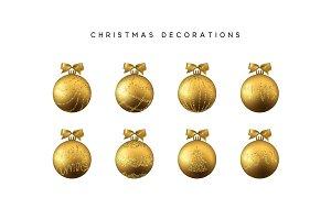 Xmas set balls gold color. Christmas bauble decoration elements