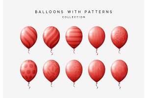 Set of red balloons isolated on white background