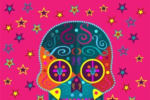 Skull background with stars