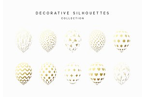 Set of golden silhouette balloons isolated on white background
