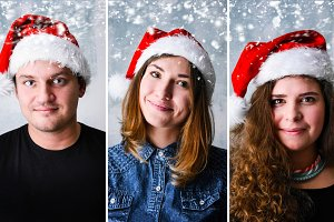 People wearing Santa hat