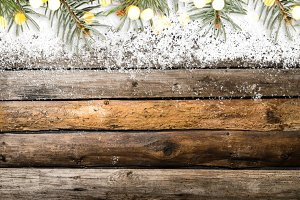 Snowy vintage wooden table