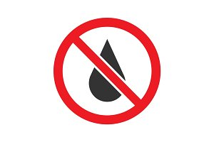 Forbidden sign with liquid drop glyph icon