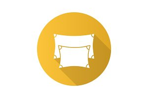 Pillows flat design long shadow glyph icon