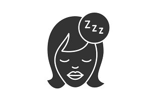 Sleeping woman glyph icon