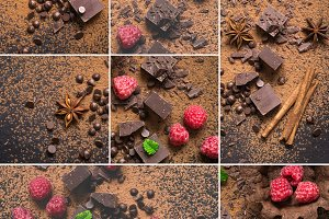Food collage of chocolate with raspberries and spices
