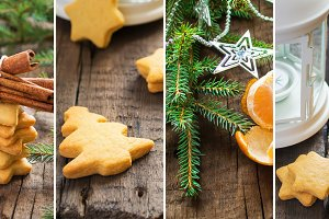 Christmas Gingerbread cookies with cinnamon collage