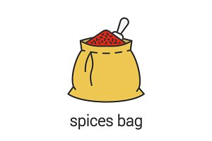 Spices bag color icon