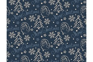 Christmas pattern, dark blue