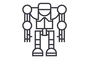 robot,droid vector line icon, sign, illustration on background, editable strokes