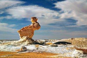 Stone rabbit, white desert, farafra, Egypt