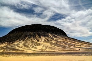 Mountain landscape in Black Desert, Bahariya Egypt