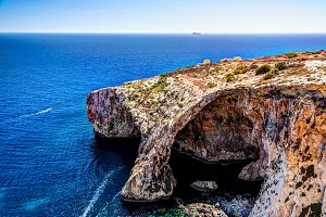Panorama view to Blue Wall and Grotto cliffs Malta