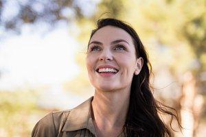 Woman smiling during safari vacation