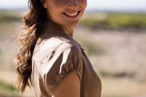 Portrait of woman during safari vacation