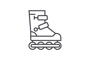 roller skates vector line icon, sign, illustration on background, editable strokes