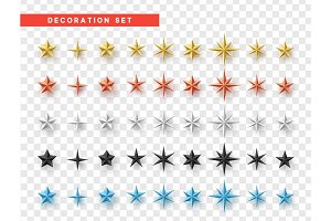 Set of five-pointed colored stars