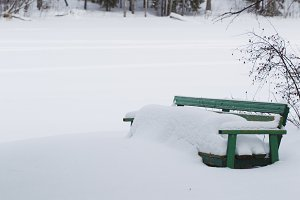 Bench windswept snow.