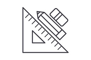 rule pen and eraser,graphic tools vector line icon, sign, illustration on background, editable strokes