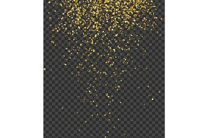 Falling shiny golden confetti isolated on transparent background. Bright festive tinsel of gold color