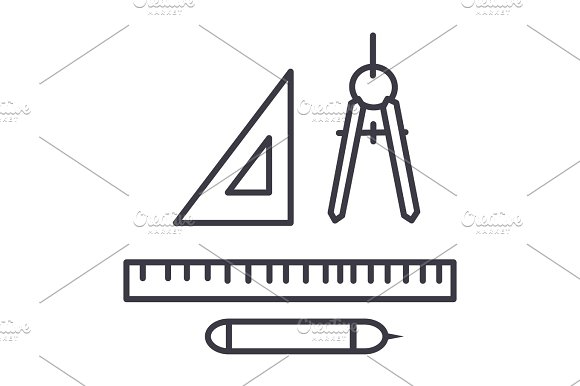 Rulers Dividers Pen Vector Line Icon Sign Illustration On Background Editable Strokes