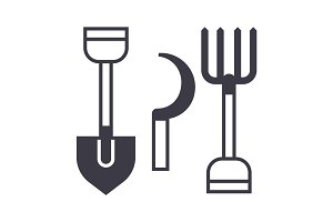 garden tools, shovel, hayfork vector line icon, sign, illustration on background, editable strokes