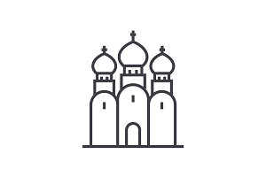 russian orthodox church vector line icon, sign, illustration on background, editable strokes