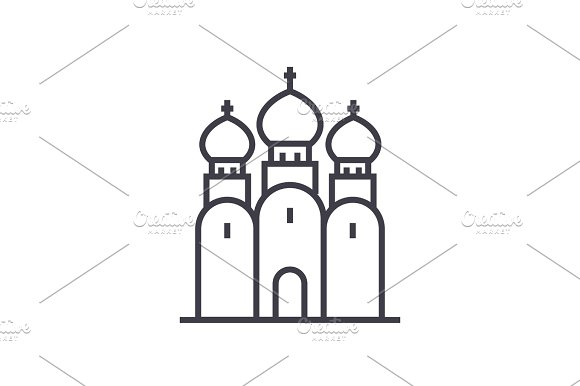 Russian Orthodox Church Vector Line Icon Sign Illustration On Background Editable Strokes