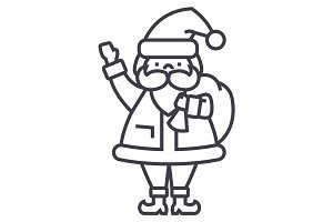 santa claus vector line icon, sign, illustration on background, editable strokes