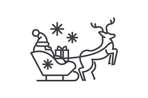 santa claus in a sleigh with a deer vector line icon, sign, illustration on background, editable strokes