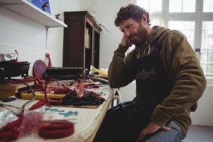 Craftsman working on clay sculpture