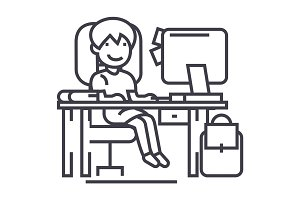 school girl on the table with computer, book and backpack vector line icon, sign, illustration on background, editable strokes