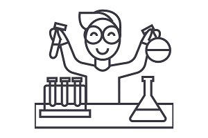 science in school, lab tests vector line icon, sign, illustration on background, editable strokes